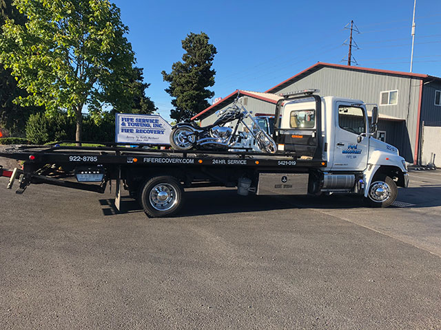 Flat Bed Tow Truck With Motorcycle